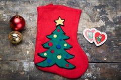 Weihnachtssocke in der Mitte Lizenzfreies Stockbild