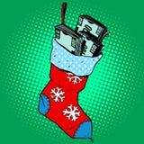Weihnachtssocke mit Geld stock abbildung