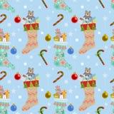 Weihnachtssocken und nahtloses Muster des Geschenks stock abbildung