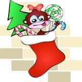 Weihnachtssockenaffe Stockfoto