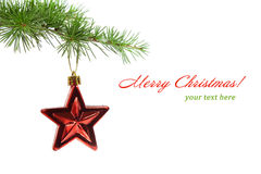 Weihnachtsspielwaren auf dem Baum Stockbilder