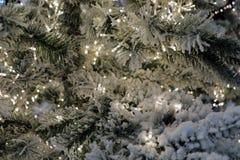 Weihnachtsspielwaren auf den Weihnachtsbäumen im Silvesterabend Gründekorationslichter des neuen Jahres und Christmass, Beleuchtu stockbilder