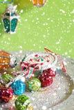 Weihnachtsspielwaren und -lichter Lizenzfreies Stockbild