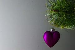 Weihnachtsspielzeug auf einem einzelnen Zweig Weihnachtsbaum Stockfotos