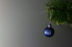 Weihnachtsspielzeug auf einem einzelnen Zweig Weihnachtsbaum Stockfoto