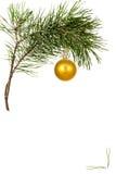 Weihnachtsspielzeug auf Kieferzweig Stockfotos