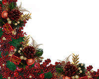 Weihnachtsstechpalme-Beeren-Girlande-Rand Stockfotografie
