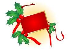 Weihnachtsstechpalme mit Karte Stockfoto