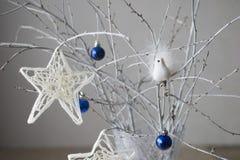 Weihnachtsstern, der an der Niederlassung hängt Stockfotografie