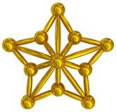 Weihnachtsstern goldenes 3d lokalisiert Lizenzfreies Stockfoto