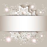 Weihnachtsstern-Schneeflocken-Gruß-Karte Stockfotografie