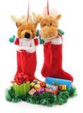 Weihnachtsstiefel mit Geschenken Lizenzfreie Stockbilder