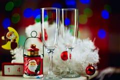 Weihnachtsstillleben Champagne Stockbilder