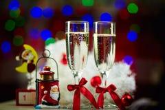 Weihnachtsstillleben Champagne Stockbild