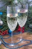 Weihnachtsstillleben, Ebene, Kiefer, Verzierungsdekoration Lizenzfreies Stockfoto
