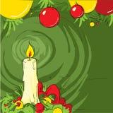 Weihnachtsstillleben mit einer Kerze Stockfotografie