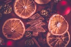 Weihnachtsstillleben mit Frucht und Gewürzen stockbilder