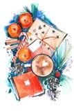 Weihnachtsstillleben mit Mandarinenkaffeeschokolade watercolor vektor abbildung