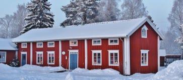 Weihnachtsstimmung am Freiluftmuseum Hägnan in Gammelstad Lizenzfreie Stockfotografie