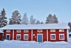 Weihnachtsstimmung am Freiluftmuseum Hägnan in Gammelstad Lizenzfreies Stockfoto