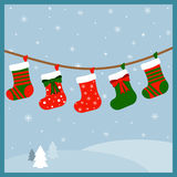 Weihnachtsstrümpfe für Geschenke stock abbildung