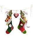 Weihnachtsstrümpfe mit Geschenken Lizenzfreie Stockfotos