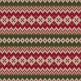 Weihnachtsstrickjacken-Design Nahtloses gestricktes Muster im traditiona Stockfotografie