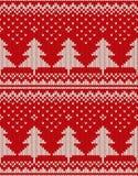Weihnachtsstrickjacken-Design Nahtloses Muster mit Weihnachtsbäumen Stockfotos