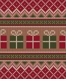 Weihnachtsstrickjacken-Design Nahtloses strickendes Muster Winter Holi Lizenzfreies Stockfoto