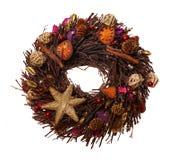 Weihnachtsstroh Wreath stockfotos