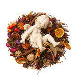 Weihnachtsstroh Wreath lizenzfreies stockfoto
