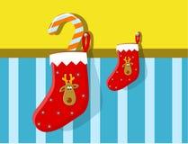 Weihnachtsstrumpf mit Ren Lizenzfreie Stockfotos