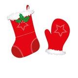 Weihnachtsstrumpf und -handschuh Stockbilder