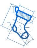 Weihnachtsstrumpfsymbol mit Maßlinien Lizenzfreies Stockfoto