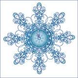 Weihnachtsstunden in einer schönen Schneeflocke stock abbildung