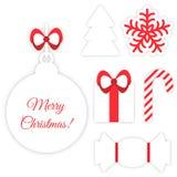 Weihnachtssymbole auf Weiß Stockfoto