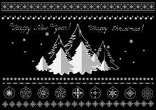 Weihnachtssymbole, Schneeflocken, Weihnachtsbäume, Grenzen und Grüße Lizenzfreie Stockbilder