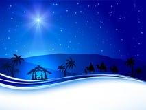 Weihnachtsszene auf Himmelhintergrund Stockfoto