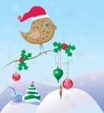 Weihnachtsszene mit einem Vogel und Verzierungen Stockfotos
