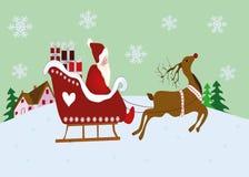 Weihnachtsszene mit Ren und Pferdeschlitten lizenzfreie abbildung