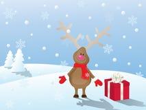 Weihnachtsszene mit Rotwild Lizenzfreies Stockfoto