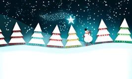 Weihnachtsszene mit Schneemann Stockfoto