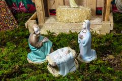 Weihnachtsszene - Nacimiento Stockfoto