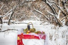 Weihnachtstabelle im Winterwald Lizenzfreies Stockfoto
