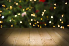 Weihnachtstabelle, Lichter bokeh Hintergrund Stockfoto