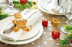 Weihnachtstabelle settin Stockfotografie