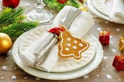 Weihnachtstabelle settin Stockfoto