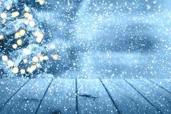 Weihnachtstabellenhintergrund Neues Jahr Lizenzfreies Stockfoto