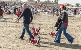 Weihnachtstagesspaß am Strand lizenzfreies stockbild
