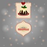 Weihnachtstags und Puddinghintergrund Stockfotos